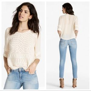 Lucky Brand Embroidered Sheer Short Sleeve Blouse